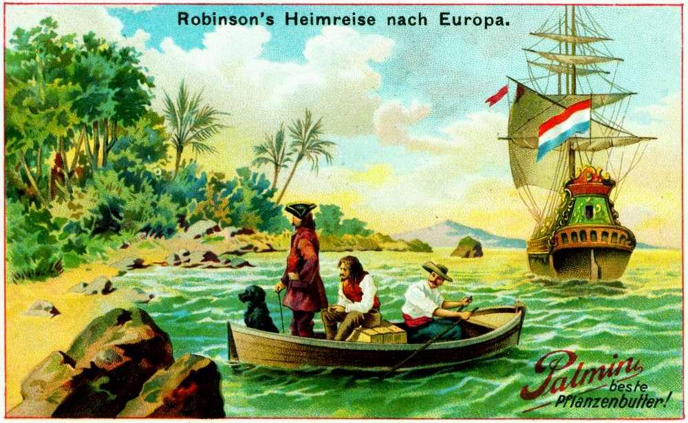 Робинзон Крузо отправляется с острова на свою европейскую родину