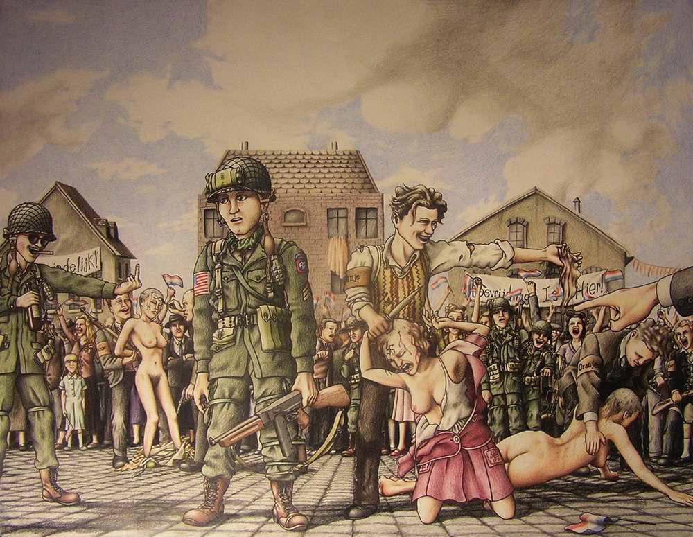 Остригание пойманных нацистских шлюх