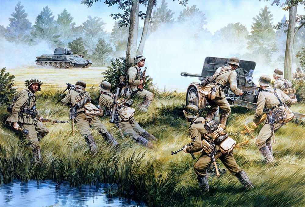 Солдаты 269 пехотной дивизии Вермахта ведут огонь по советскому танку (Howard Gerrard)