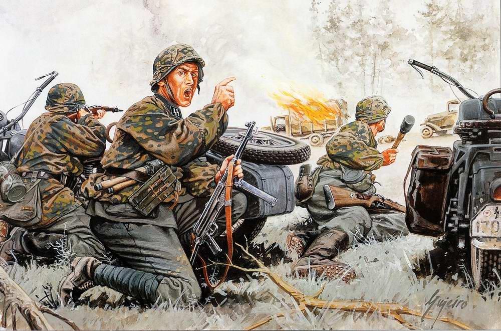 Подразделение войск СС атакует настигнутую автоколонну (Ramiro Bujeiro)