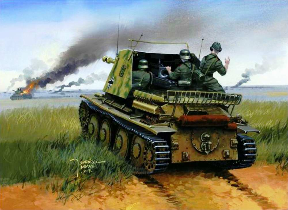Немецкая самоходка ведет огонь по отступающим советским танкам