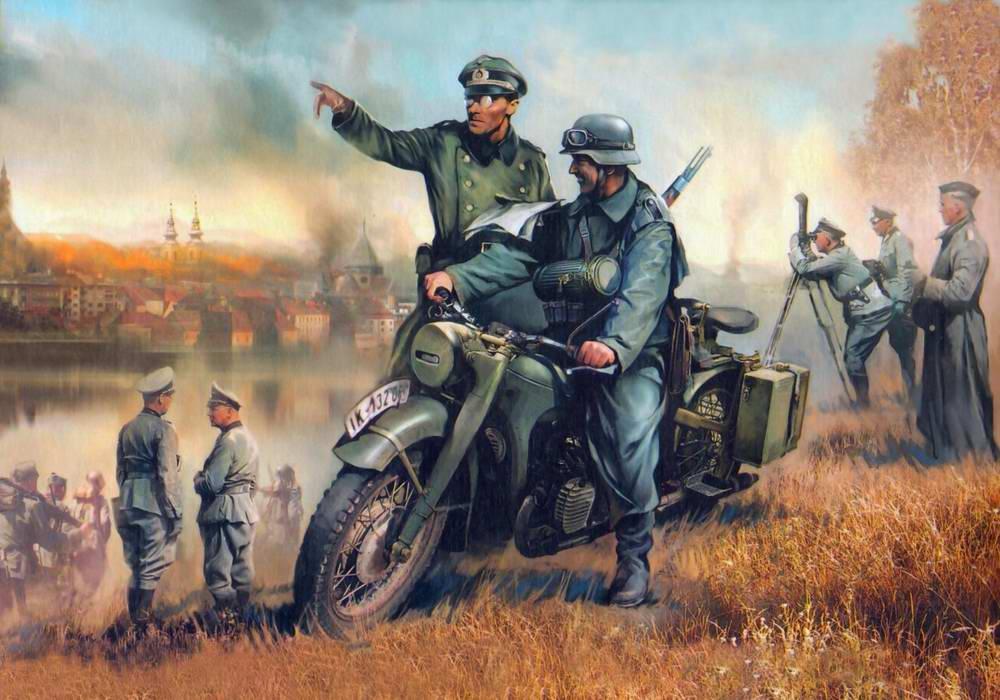 У окраины города: немецкий тяжёлый мотоцикл БМВ Р-12 (Иван Хивренко)