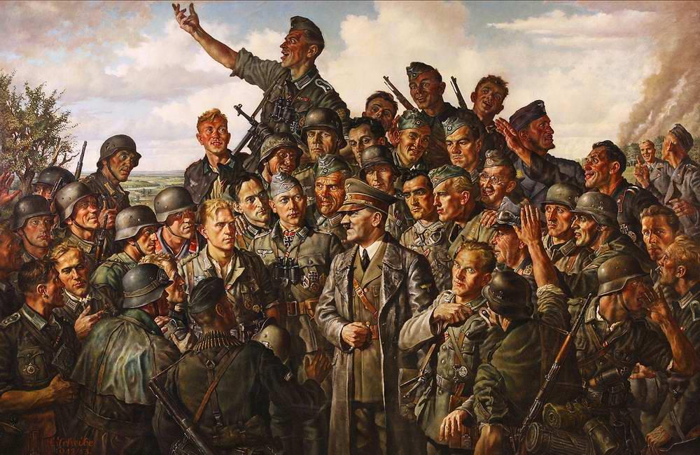 Гитлер на встрече с немецкими солдатами