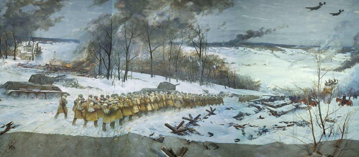 Контрнаступление советских войск под Москвой - фрагмент (Е. Данилевский)
