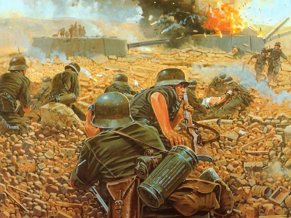 Немецкие саперы осуществляют подрыв советской артиллерийской береговой батареи