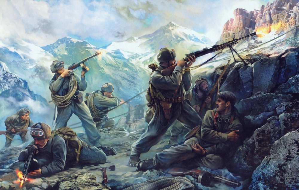 Бой в горных отрогах Северного Кавказа (Иван Хивренко)