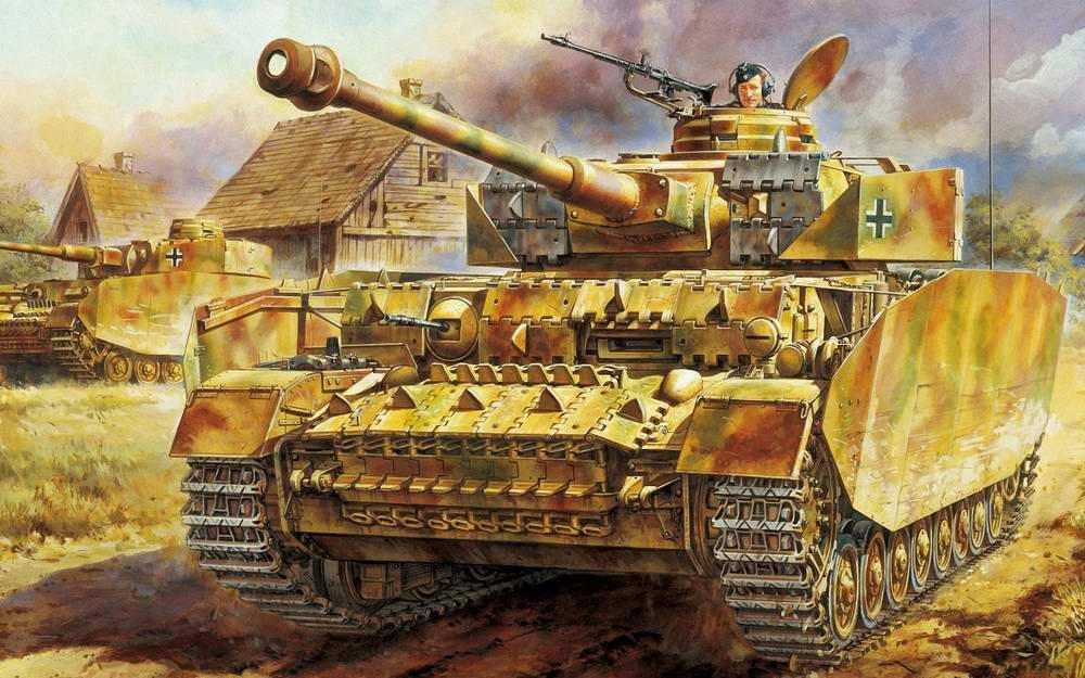 Немецкие танки Т-4 на окраине российской деревни