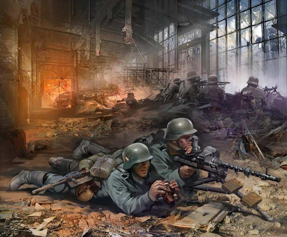 Сталинград - пулеметчики Вермахта в разрушенном заводском цеху (Иван Хивренко)