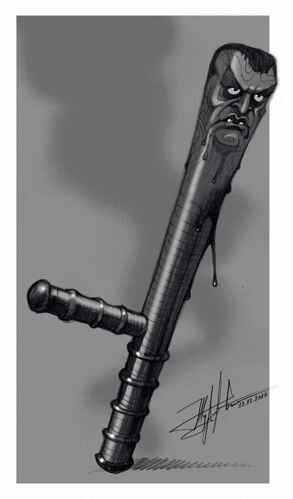 Окровавленная милицейская дубинка - Художник Юрий Журавель