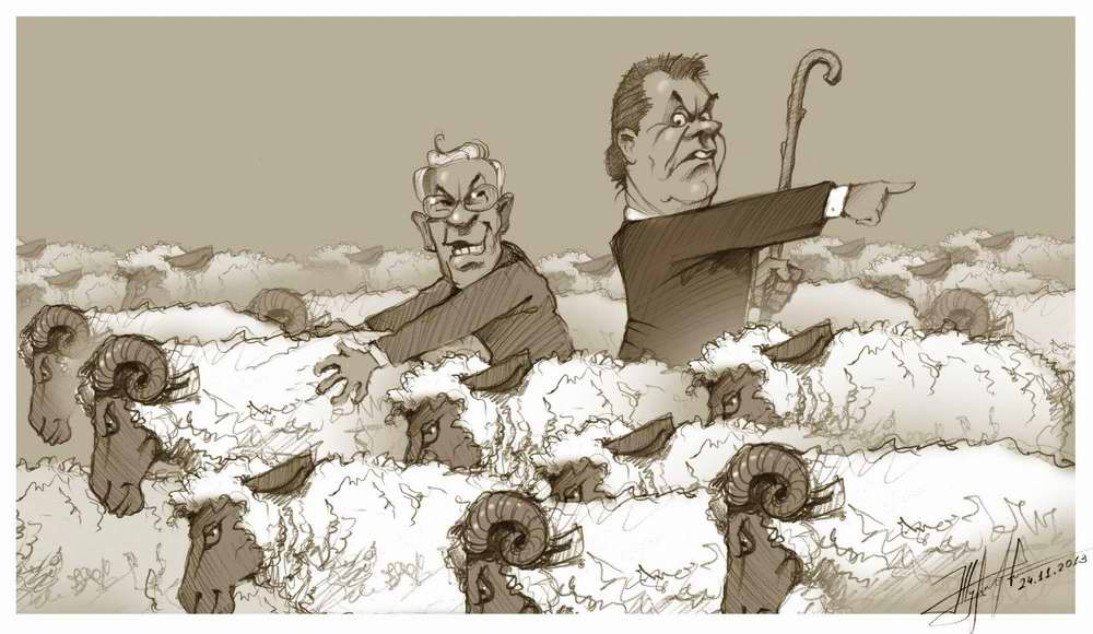 Азаров и Янукович - горе чабаны - Художник Юрий Журавель