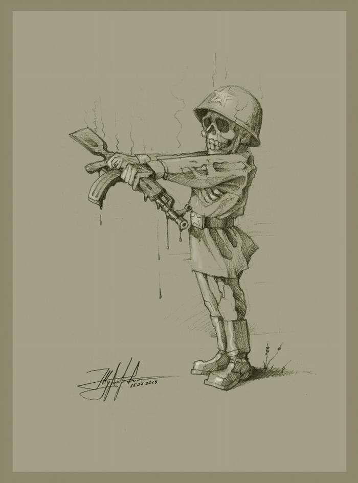 Так должен стоять российский солдат во время ядерного взрыва! Чтобы раскаленный металл не мог капать на его казенный сапоги - Художник Юрий Журавель