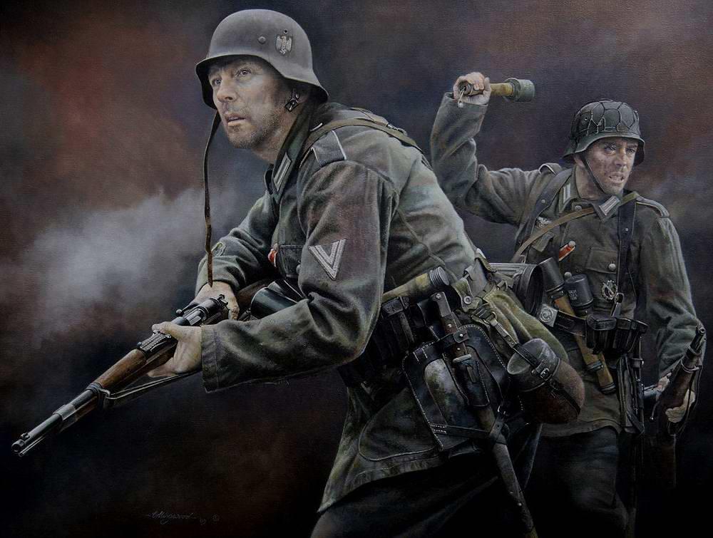 Пехотинцы Вермахта в пылу сражения (Chris Collingwood)