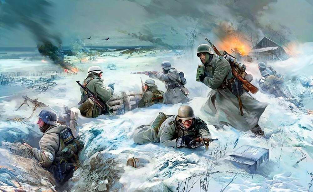 Немецкая пехота ведет бой в зимних условиях (Иван Хивренко)