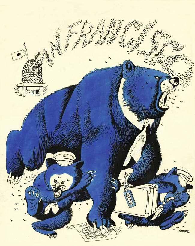 Три коммунистических медведя (Советский Союз, Чехословакия и Польша), огрызаясь покидают конференцию в Сан-Франциско