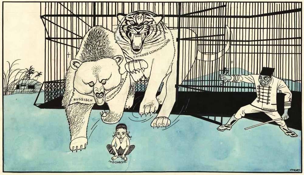 Сукарно выпускает из клетки хищных коммунистических зверей, которые готовы растерзать слабую Индонезию