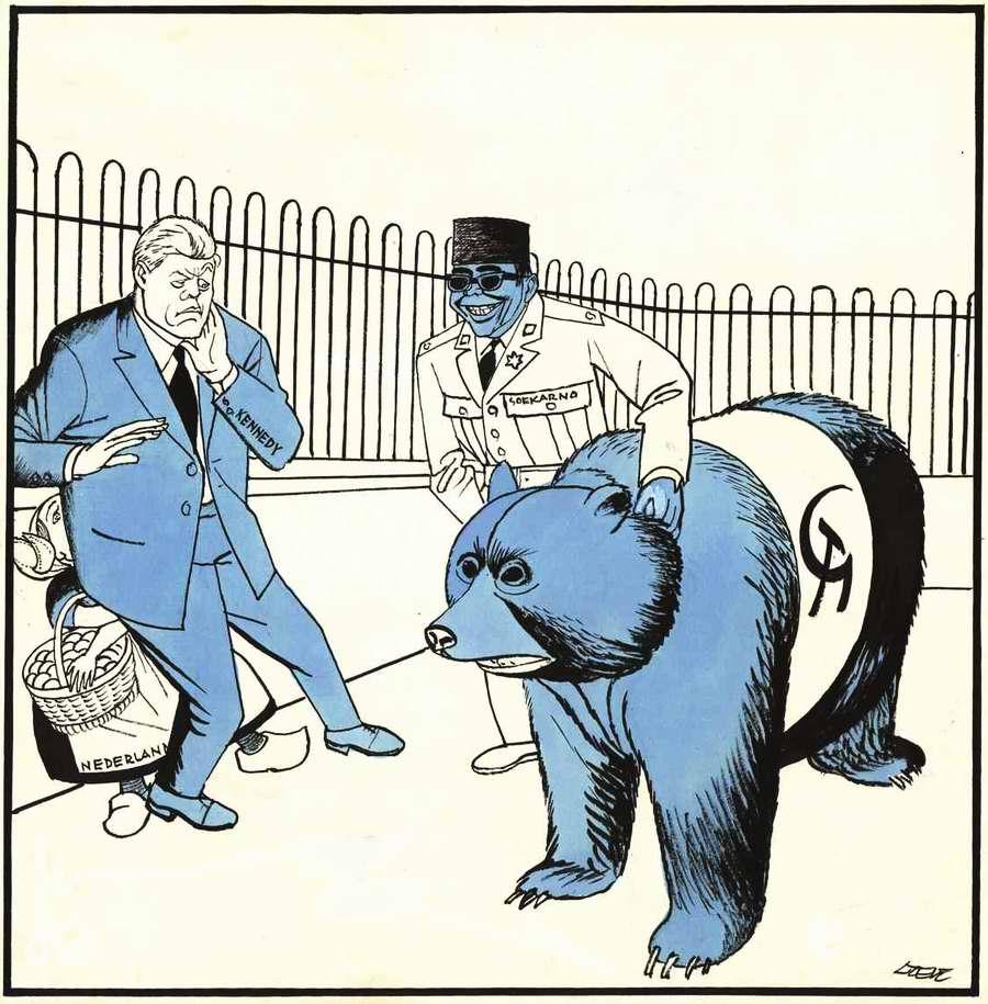 Индонезийский президент Сукарно пытается натравить советского медведя на США и Западную Европу