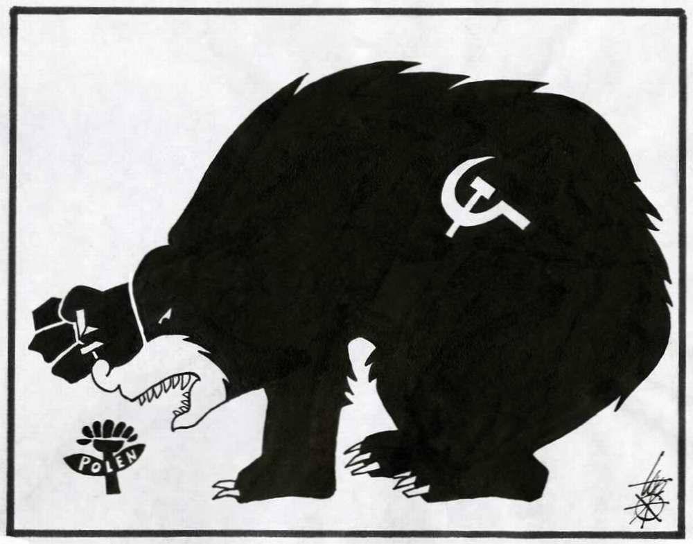 Советский медведь осуществляет вмешательство во внутренние дела Польши