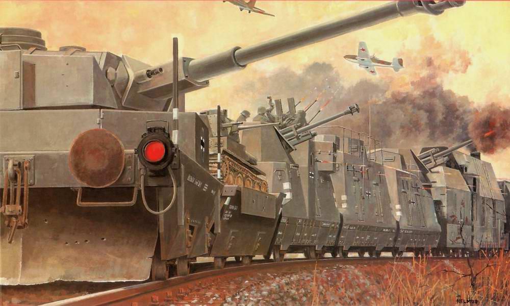Немецкий бронепоезд отражает налет советской авиации