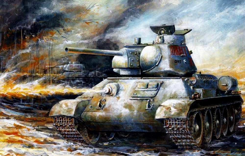 Советские Т-34 идут в атаку