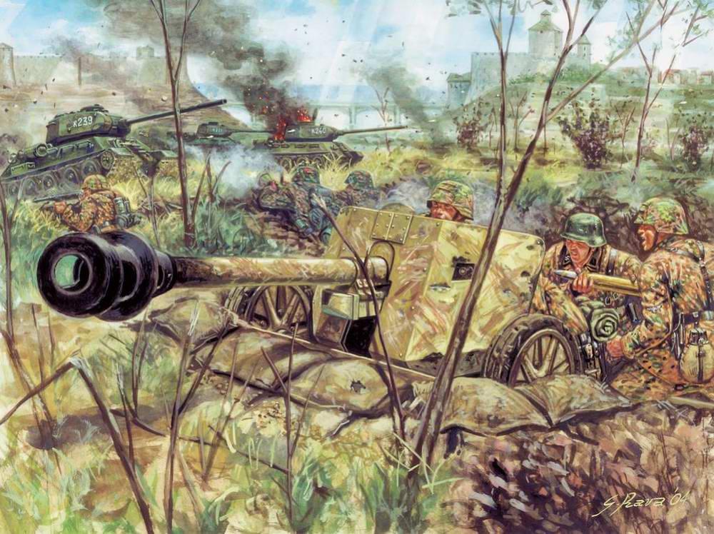 Немецкие артиллеристы отбиваются от советских танков (Giuseppe Rava)