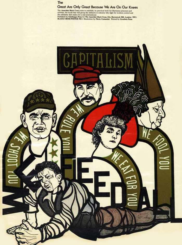 Капитализм: Мы стреляем в вас, мы правим вами, мы вводим вас в заблуждение, мы пожираем вас. Рабочие: Мы кормим всех вас