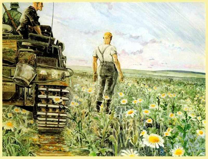 Немецкие танки посреди цветущих полей Украины - Guy Mouminoux (Sajer)
