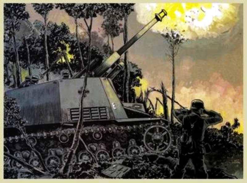 Самоходное орудие ведет огонь по врагу - Guy Mouminoux (Sajer)