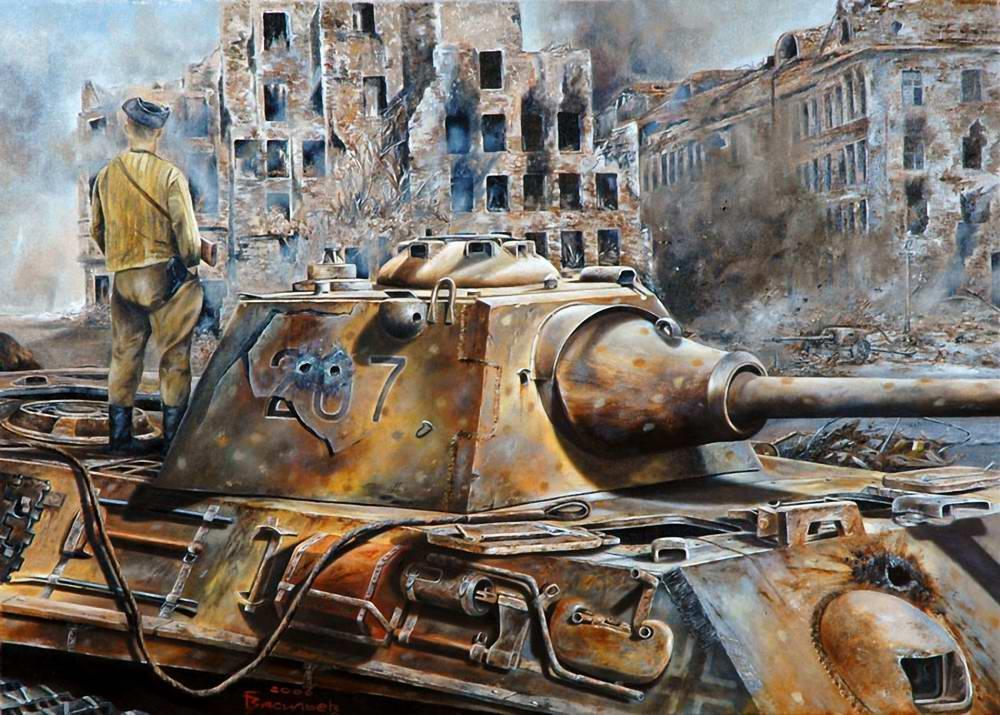 Советский боец на подбитой Пантере. Берлин - май 1945 года (Глеб Васильев)
