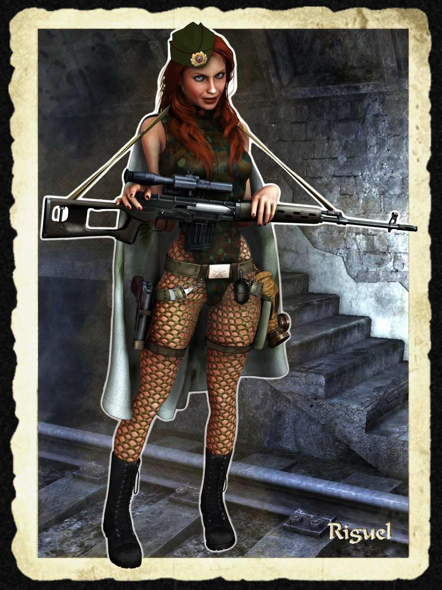 Нарисованные девушки в стиле арт в военной форме вермахта