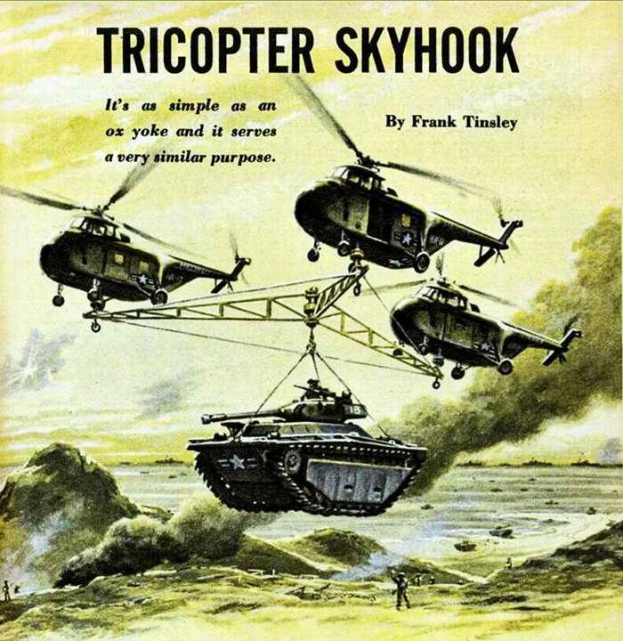 Летающий подъемный кран из трех вертолетов