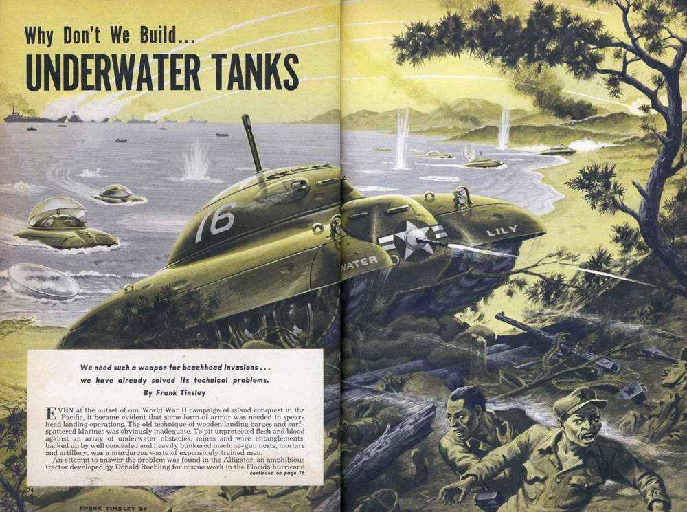Боевой подводный танк для десантирования с моря на берег