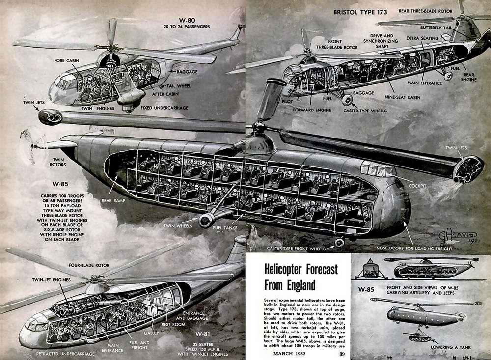 Схемы военно-транспортных вертолетов