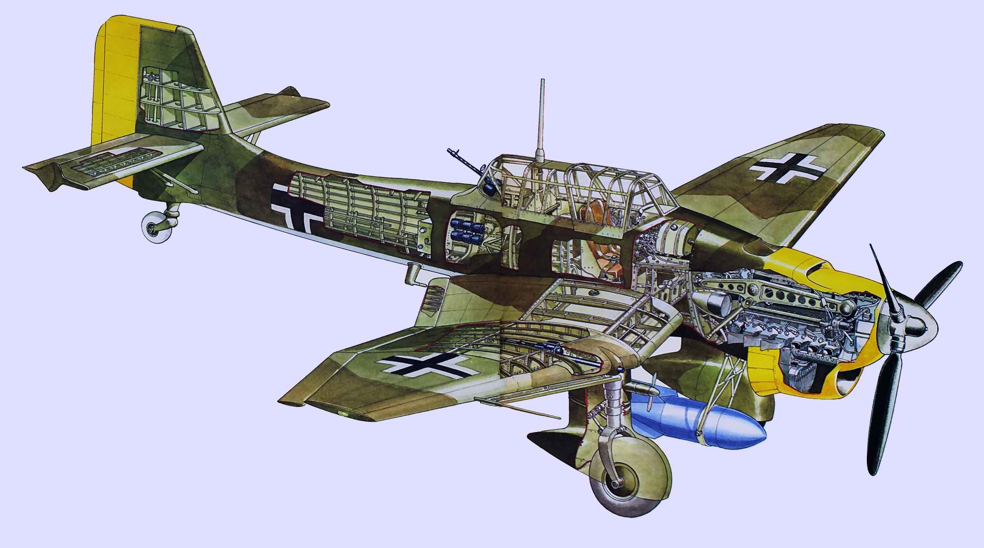 Junkers Ju 87 - пикирующий бомбардировщик Юнкерс Ю-87 Штука, 1936 год  (Германия)