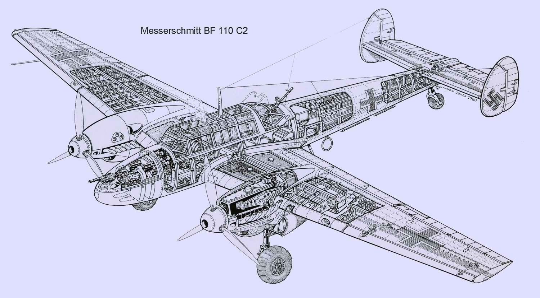 Messerschmitt Bf.110 - истребитель-бомбардировщик Мессершмитт Bf 110 1937 год (Германия)