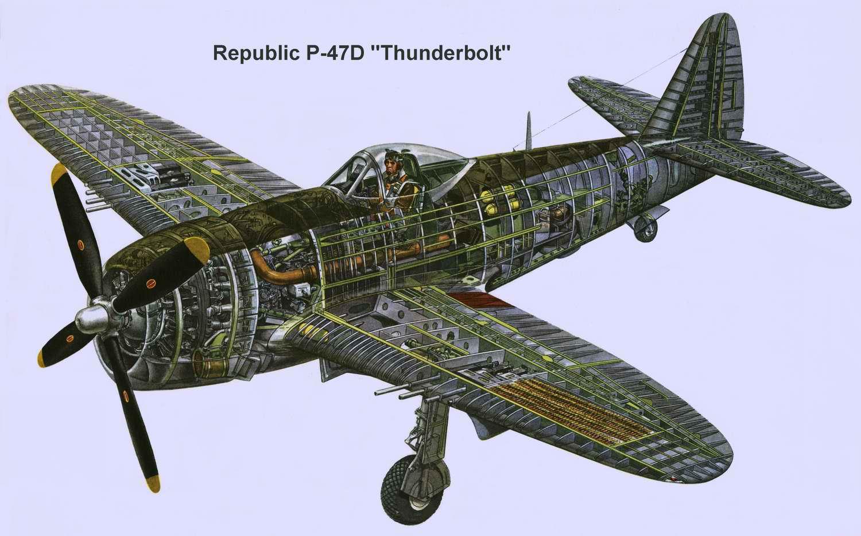 Republic P-47 Thunderbolt - истребитель-бомбардировщик P-47 Тандерболт, 1942 год (США)
