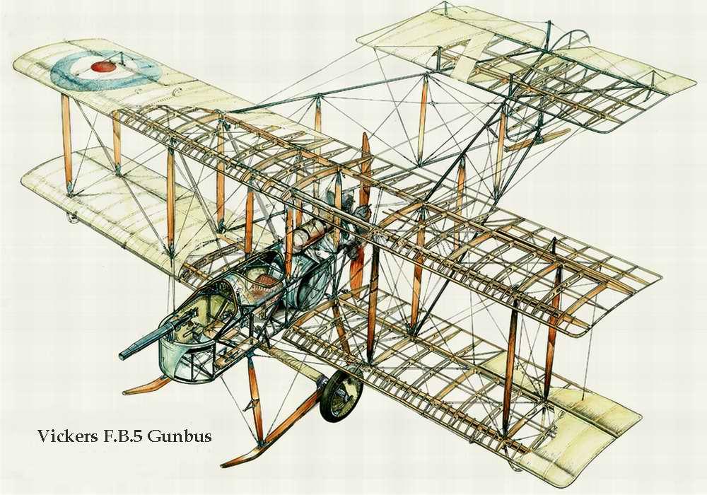 Vickers F.B.5 Gunbus - истребитель-биплан Виккерс FB-5, 1915 год (Великобритания)