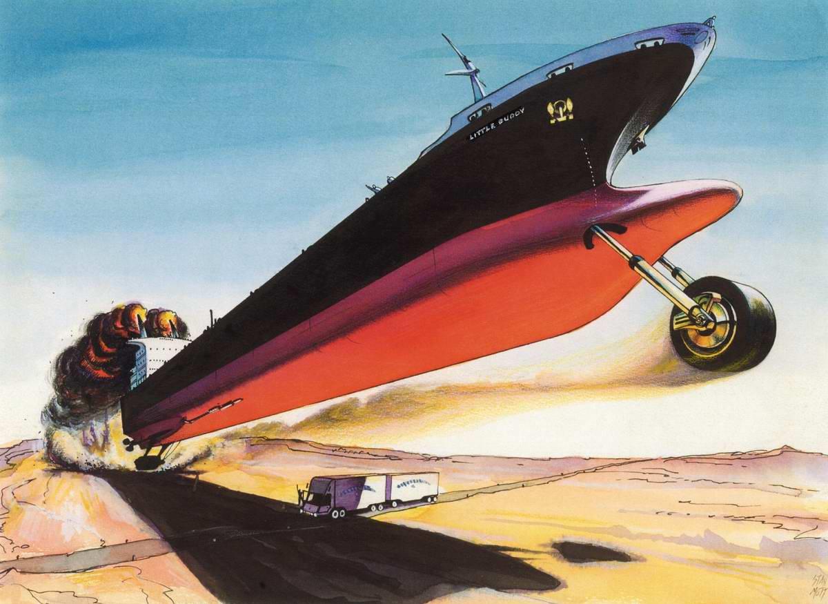 Реактивный пароход взлетает к небу