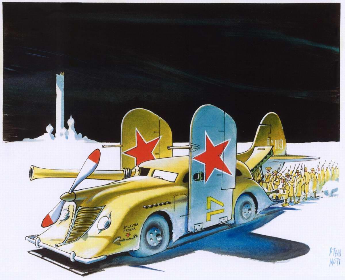 Советский летающий бронеавтомобиль на базе авто Chrysler Airflow и истребителя МиГ-1