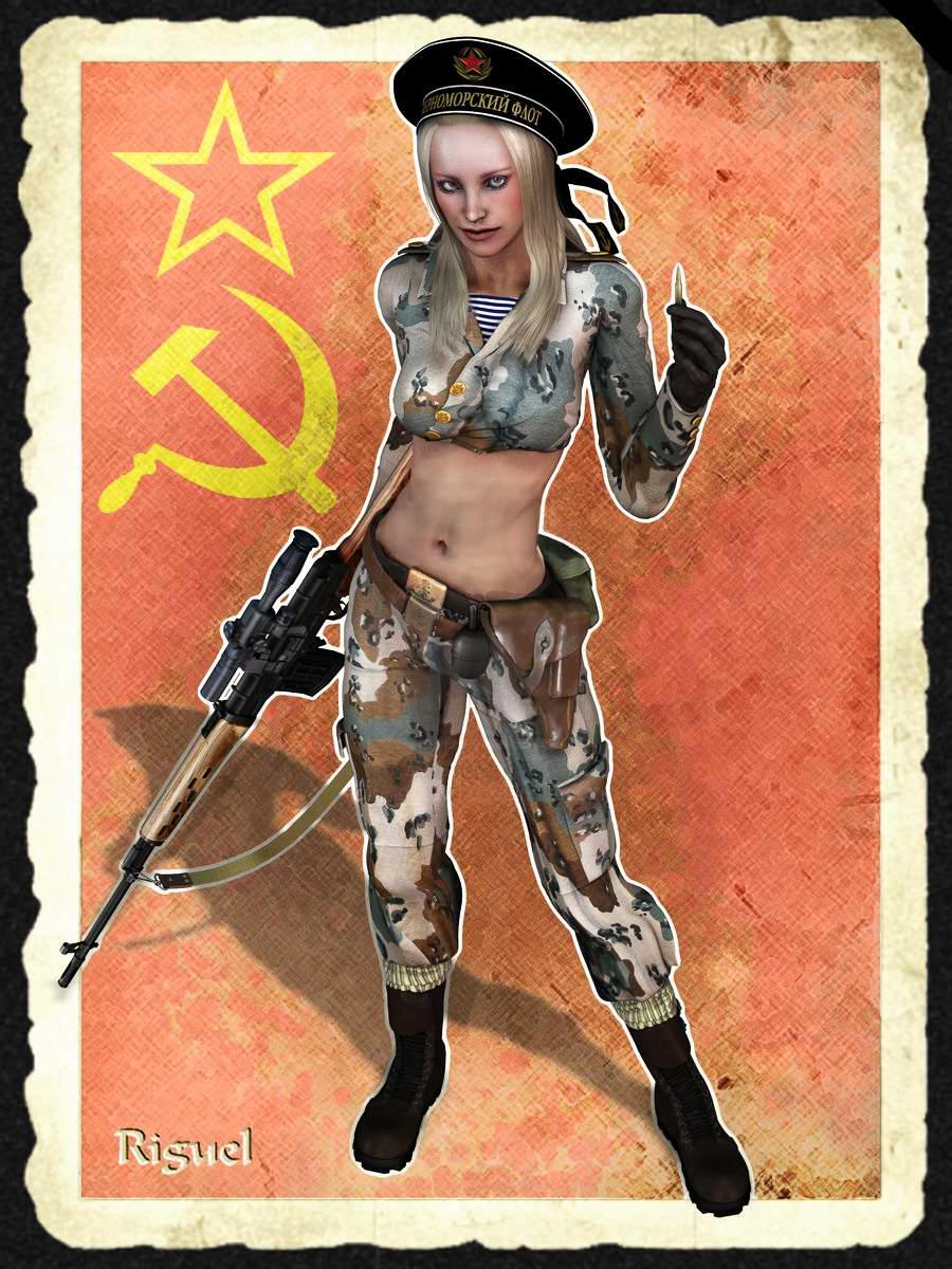 Рисованные девушки в военной 11 фотография