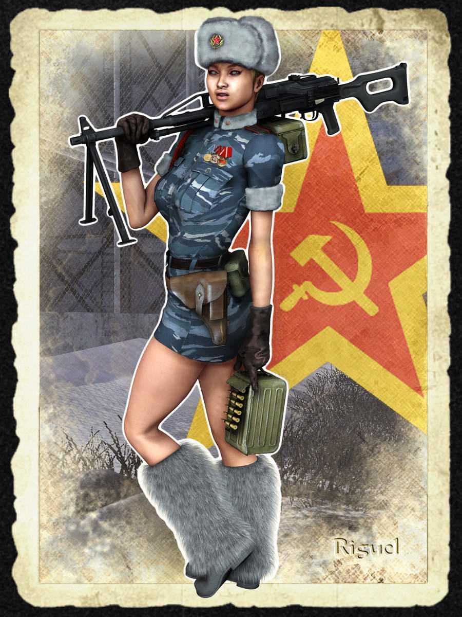 Рисованные девушки в военной 5 фотография