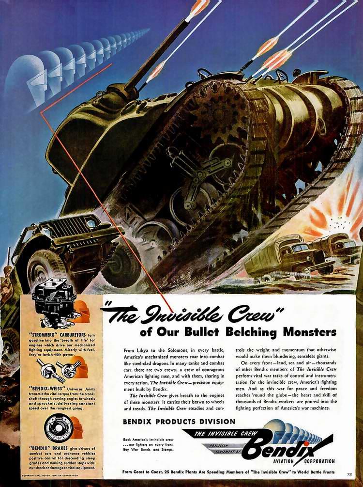 1942 год - Запасные части для танков и самолетов от автомобильно-авиационной корпорации Bendix