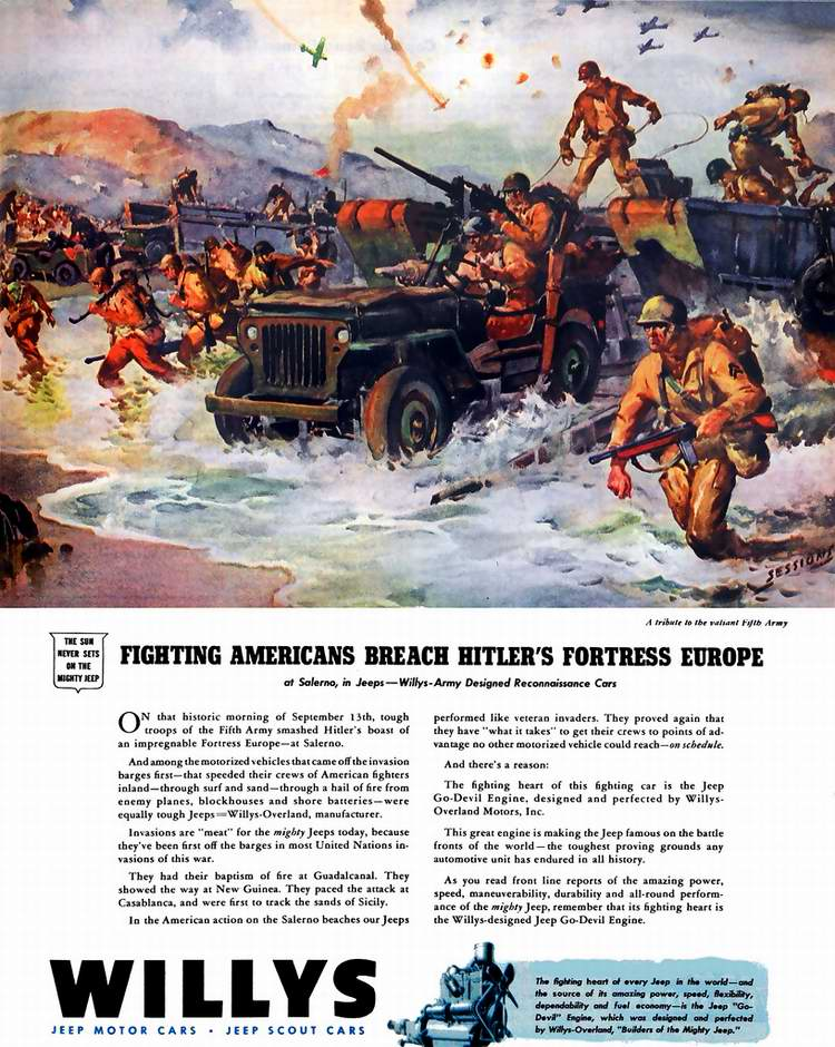 1943 год - Джипы компании Willys-Overland Motors во время высадки союзных войск под Салерно (на юге Италии)
