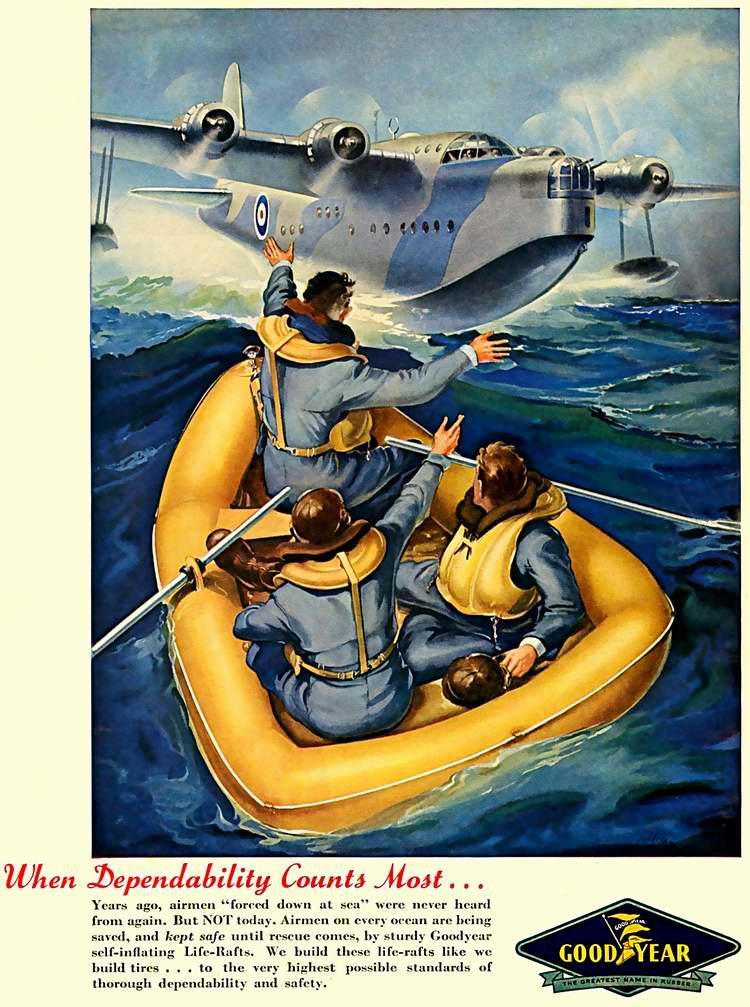 1943 год - Спасательное оснащение и оборудование от компании Goodyear Tire and Rubber