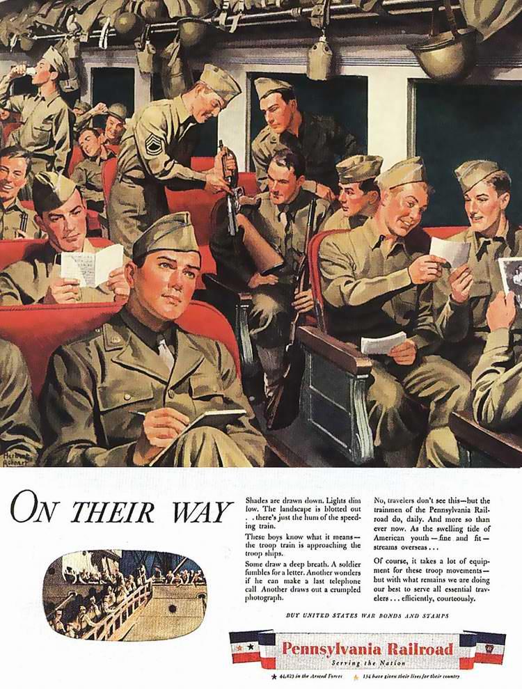 1944 год - Осуществление военных перевозок железнодорожной компанией Pennsilvania Railroad