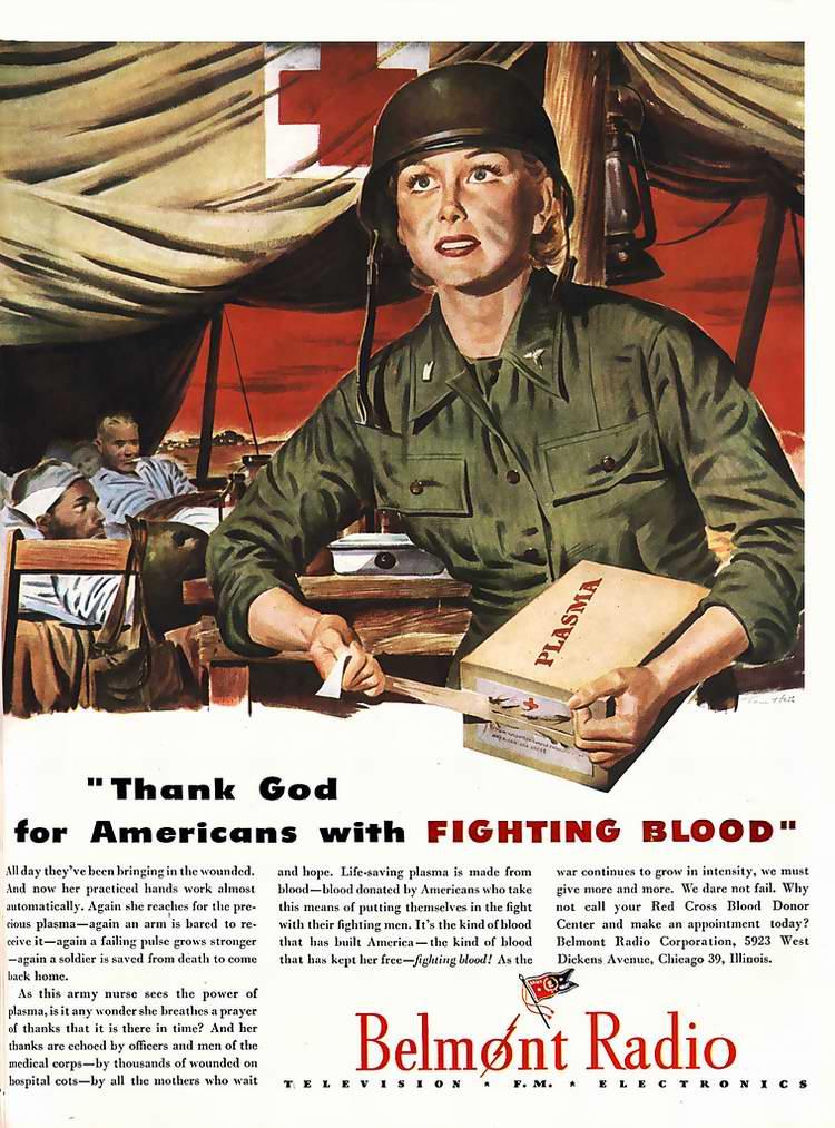 1944 год - Регулярные обращения к гражданам с просьбами о сдаче крови для нужд армии от радиостанции Belmont Radio