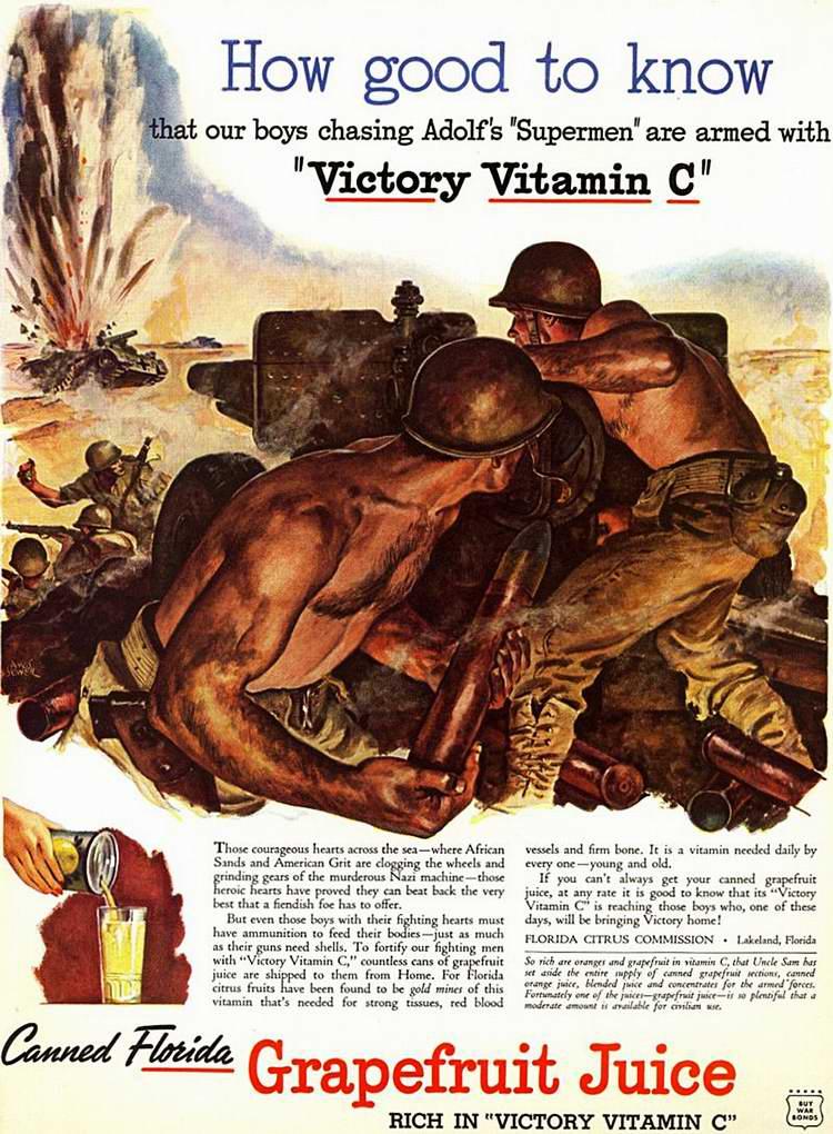 1944 год - Консервированные фруктовые соки для армии от производителей и преработчиков цитрусовых Florida Citrus Commission