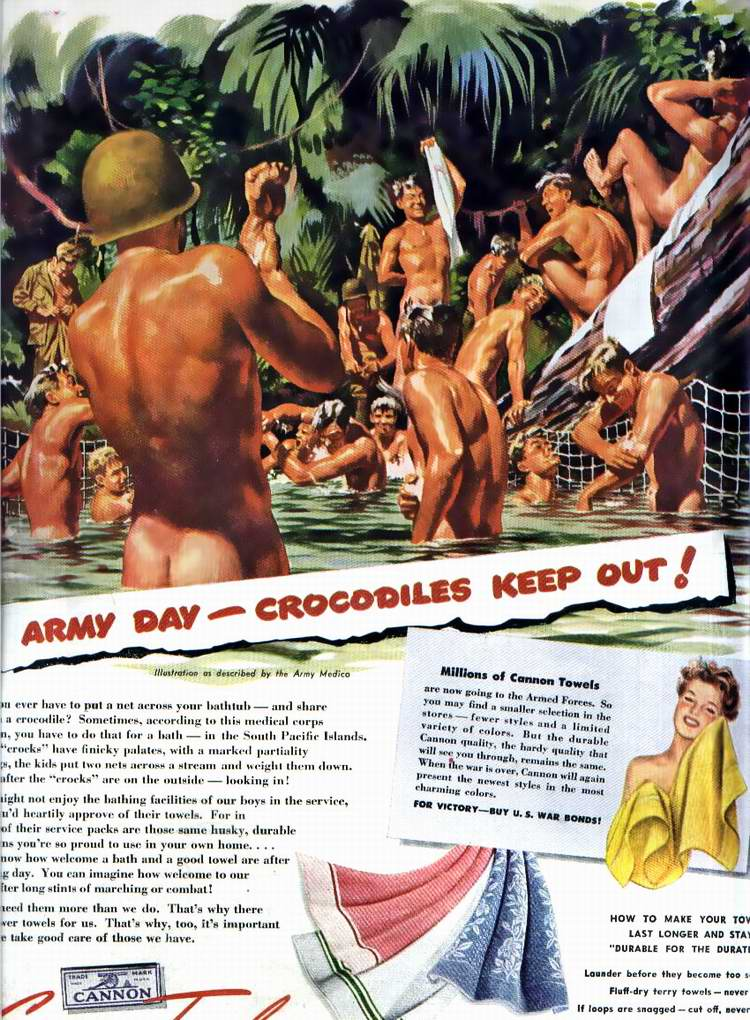 1945 год - Белье и банные принадлежности для нужд армии от текстильной компании Cannon Mills