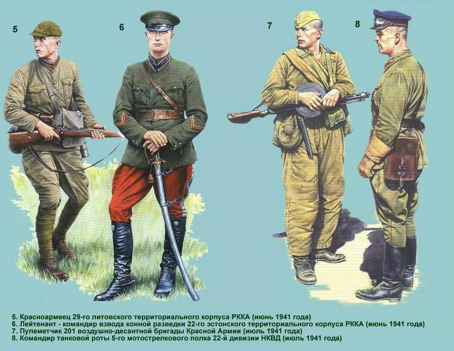 Униформа Рабоче-крестьянской Красной армии: регулярные и территориальные подразделения (лето 1941 года) - 2