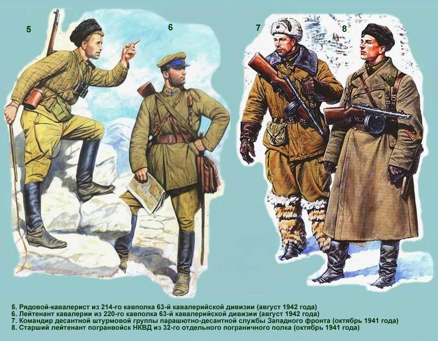 Униформа воинов Рабоче-крестьянской Красной Армии: танковые, десантно-штурмовые, кавалерийские и горно-стрелковые подразделения (осень 1941 - осень 1942 года) - 3