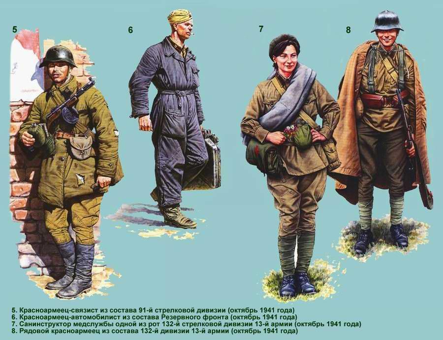 Униформа Рабоче-крестьянской Красной армии: танковые, автомобильные и стрелковые подразделения (лето - осень 1941 года) - 2